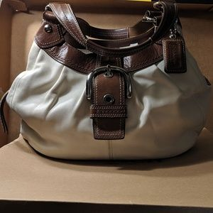 Coach Ivory/Brown Hobo Bag